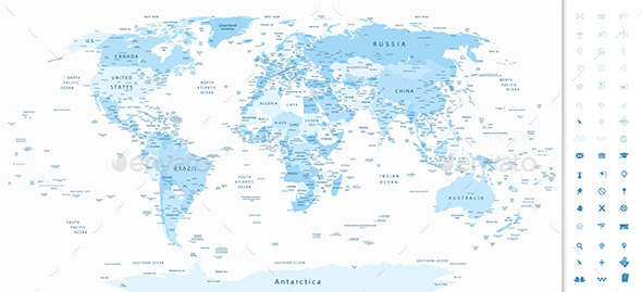 Detailed World Map and Soft Blue Colors - Travel Conceptual