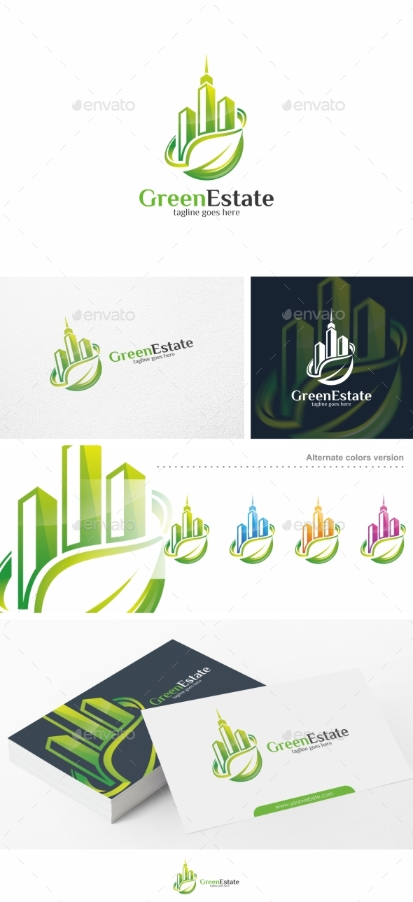 Green Estate / Real Estate - Logo Template - Buildings Logo Templates