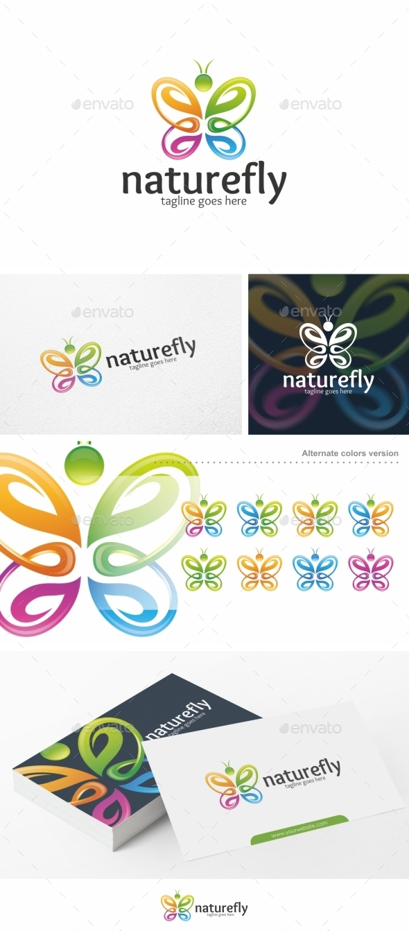 Nature Fly / Butterfly - Logo Template - Animals Logo Templates
