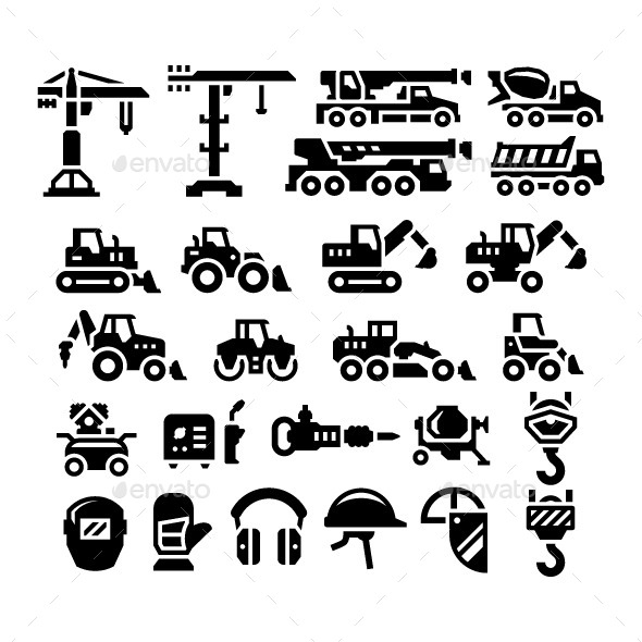 Set Icons of Construction Equipment - Man-made objects Objects