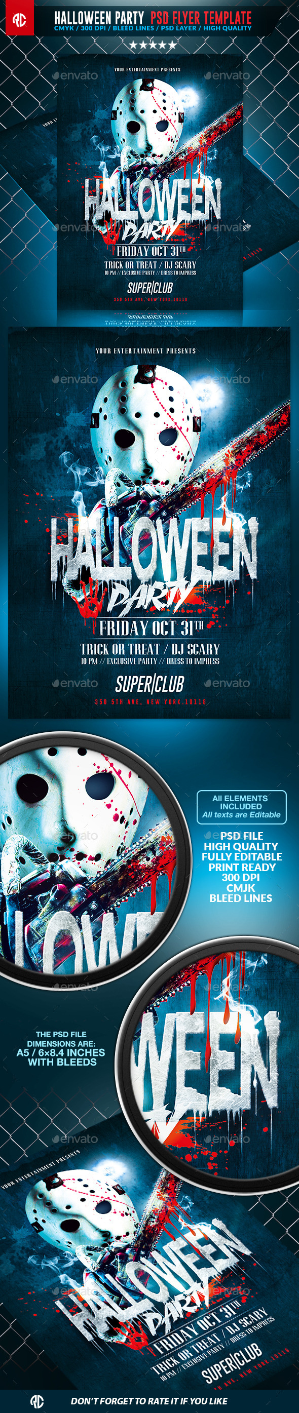 Halloween Scary Party Psd Flyer Template