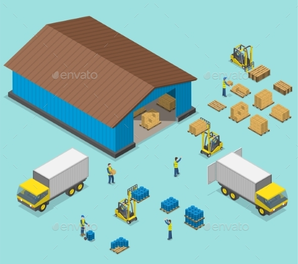 Warehouse Isometric Flat Vector Illustration - Buildings Objects
