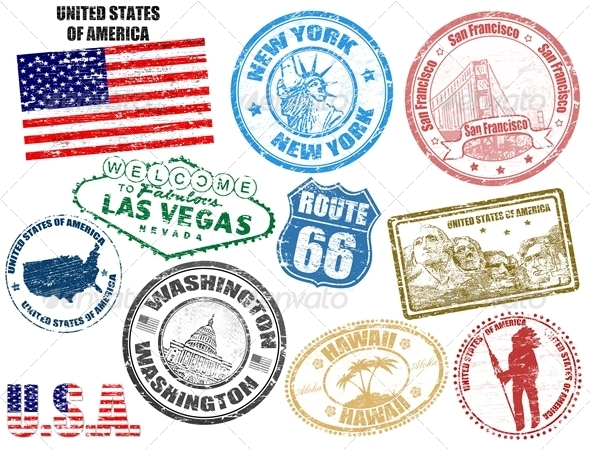 Stamps with United States of America - Travel Conceptual