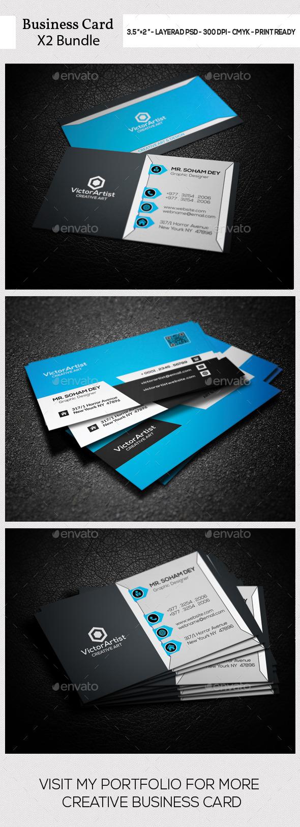 X2 Corporate Business Card Bundle - Corporate Business Cards