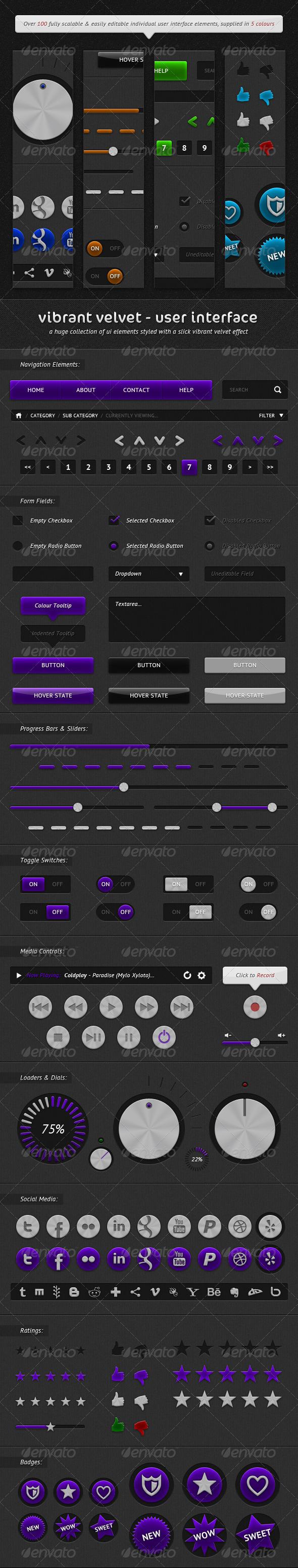 Vibrant Velvet - User Interface Kit - User Interfaces Web Elements