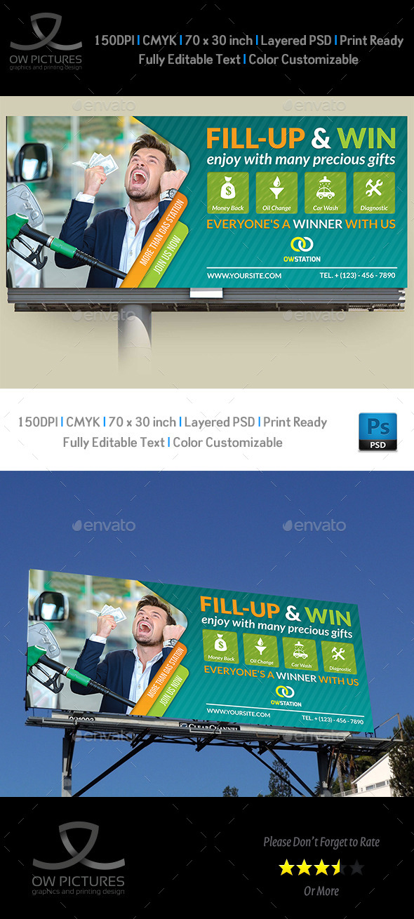 Gas Station Billboard Template - Signage Print Templates