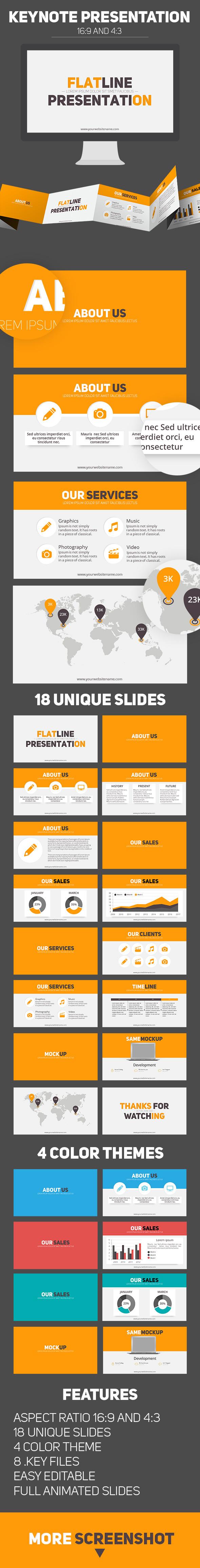 Flat line keynote business presentation - Business Keynote Templates