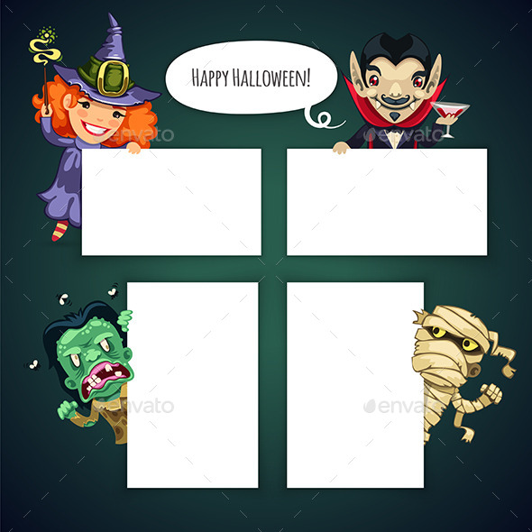 Set of Cartoon Halloween Characters - Halloween Seasons/Holidays