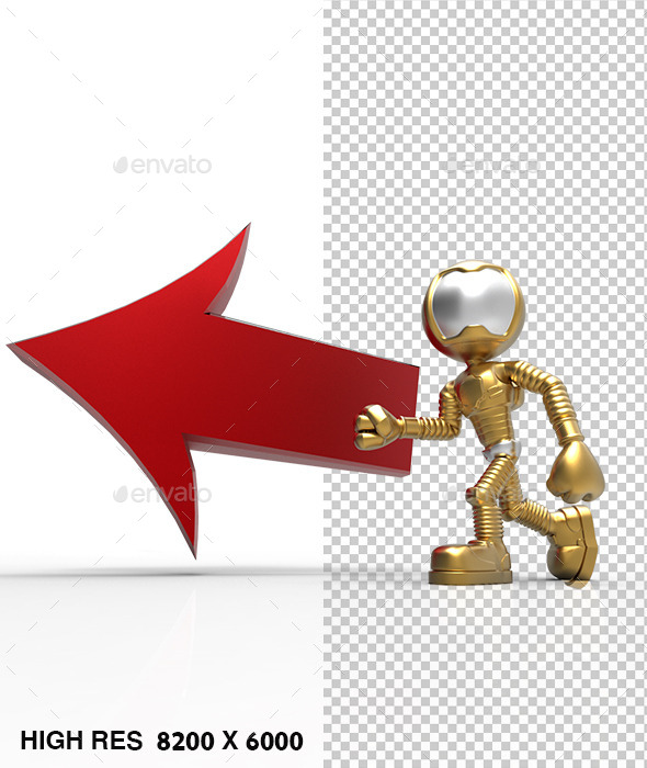 3D Astronaut Tell Left Direction Arrow Red - Characters 3D Renders