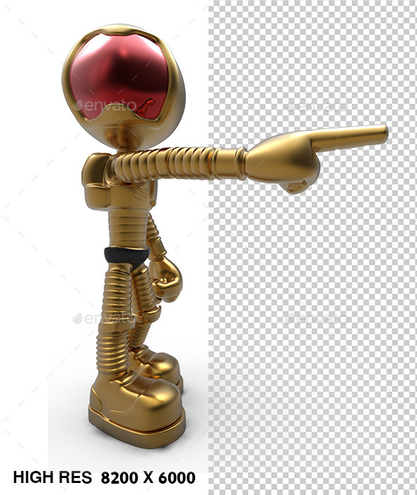 3D Golden Astronaut Pointing - Characters 3D Renders
