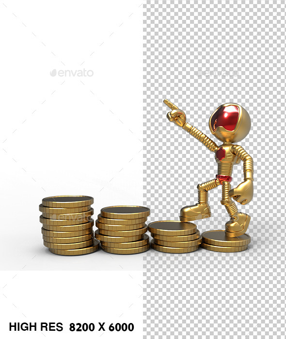 3D Golden Astronaut Pointing Up Standing Coins   - Characters 3D Renders