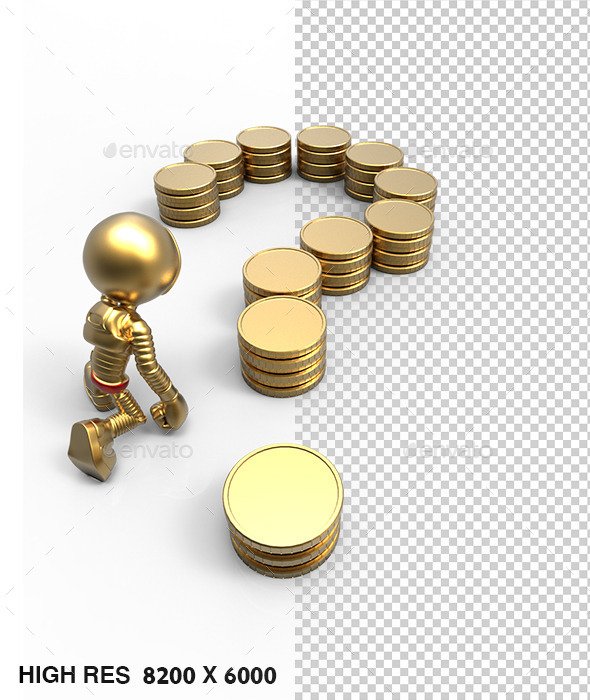 3D Golden Astronaut Question Mark Coins - Characters 3D Renders