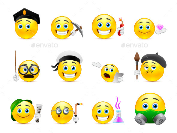 Yellow Smiley Faces - Miscellaneous Characters