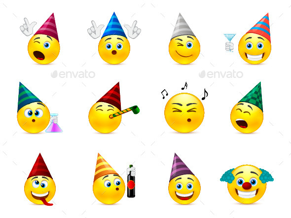 Smileys in Caps for a Birthday - Miscellaneous Characters