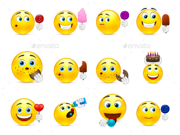 Emoticons with Different Sweet Snacks in Hand