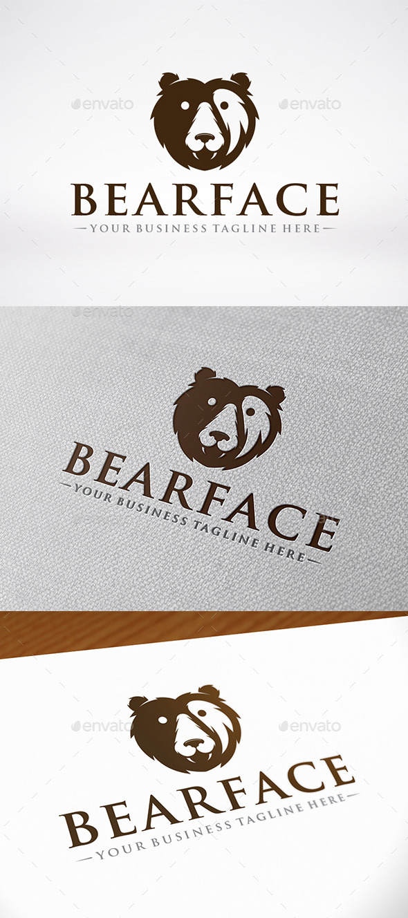 Bear Face Logo Template - Animals Logo Templates