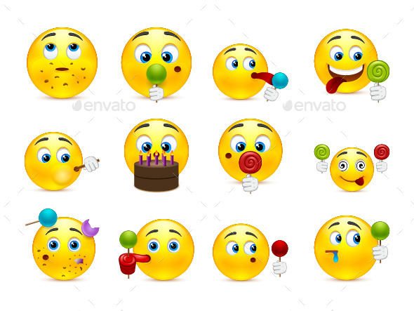 Emoticons with Different Sweet Snacks