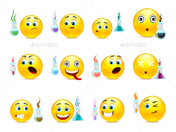 Emoticons Scientists with Flasks
