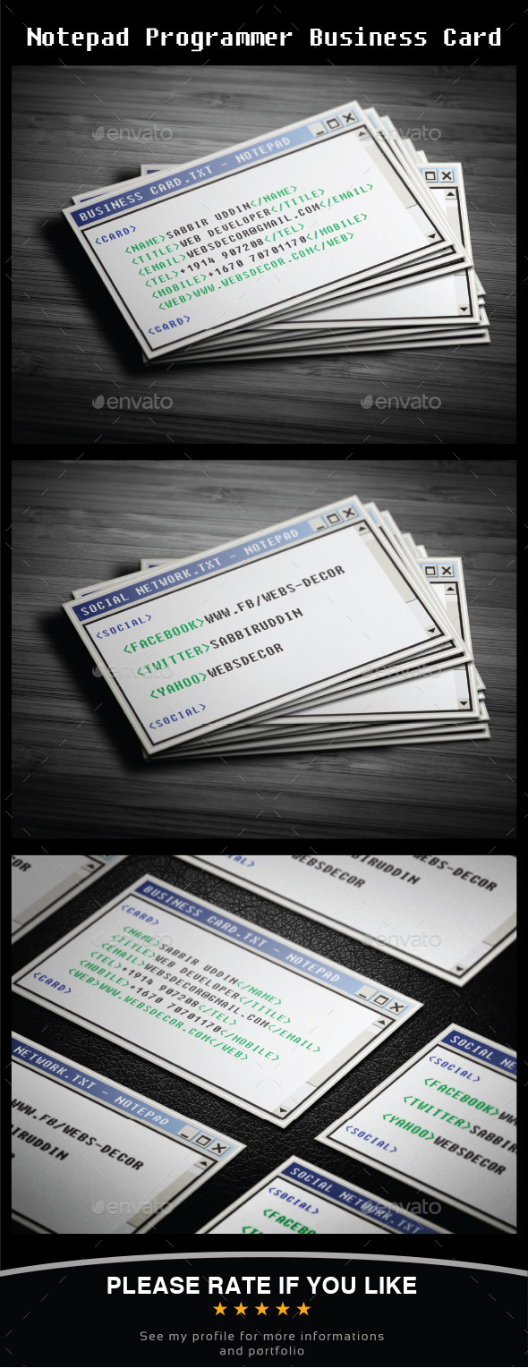 Notepad Programmer Business Card - Business Cards Print Templates