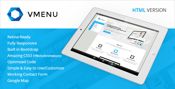 Vertical Menu - Responsive HTML Template