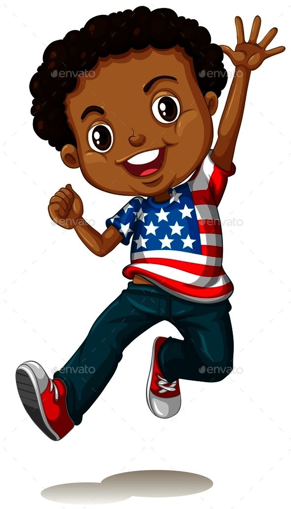 African American Boy Jumping - People Characters