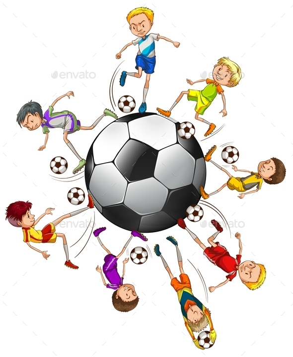 Soccer Players Around a Ball - People Characters