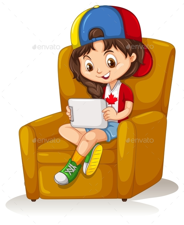Little Girl with Tablet Sitting on Chair - People Characters