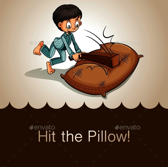 Idiom Hit the Pillow - People Characters