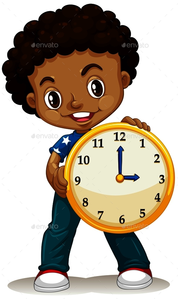 African American Boy Holding a Clock - People Characters