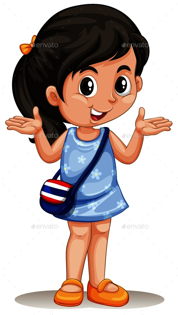 Little Asian Girl with Handbag - People Characters