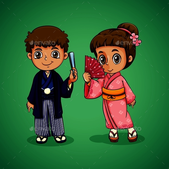 Japanese Boy and Girl - People Characters