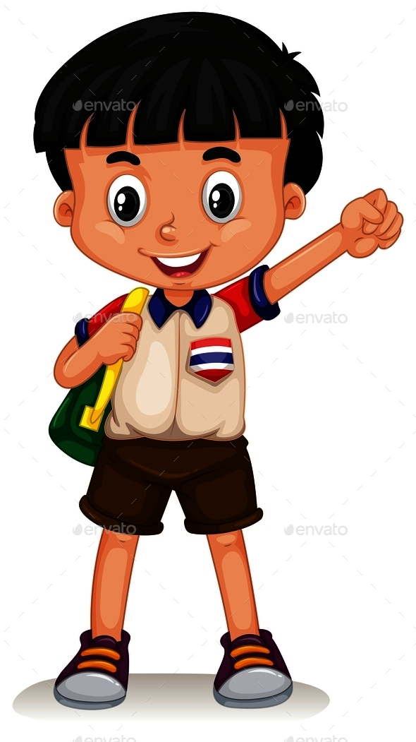 Thai Boy Carrying a Backpack - People Characters
