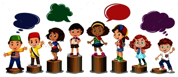 International Children Standing on Log - People Characters