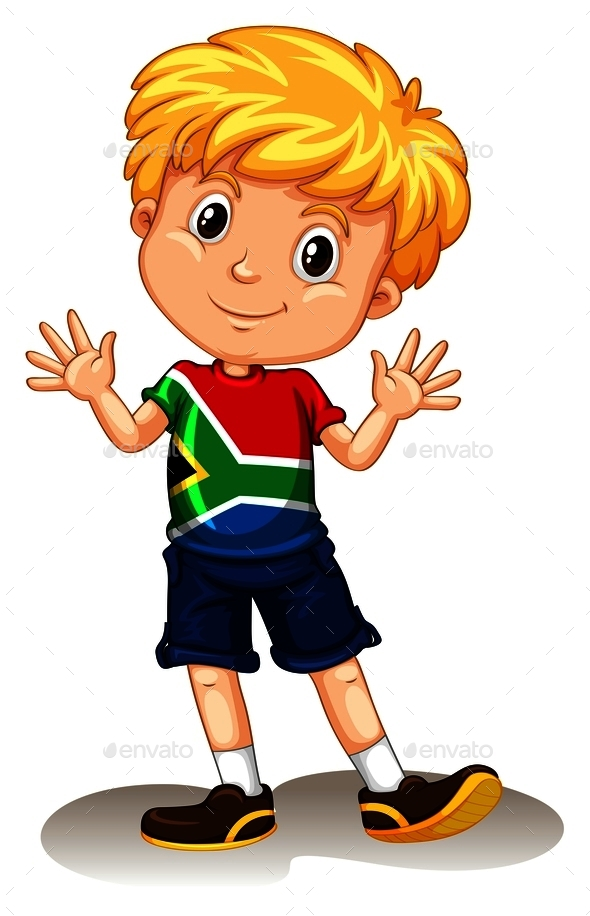 South Africa Boy Waving and Smiling - People Characters