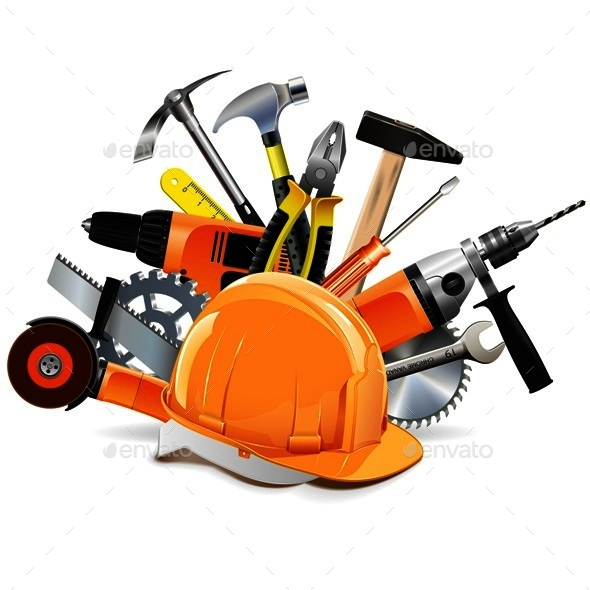 Vector Construction Tools with Helmet by dashadima ...