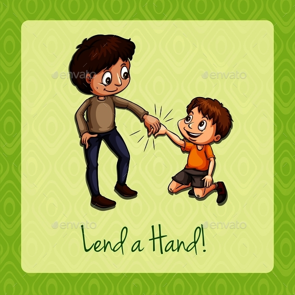 Old Saying Lend a Hand - People Characters