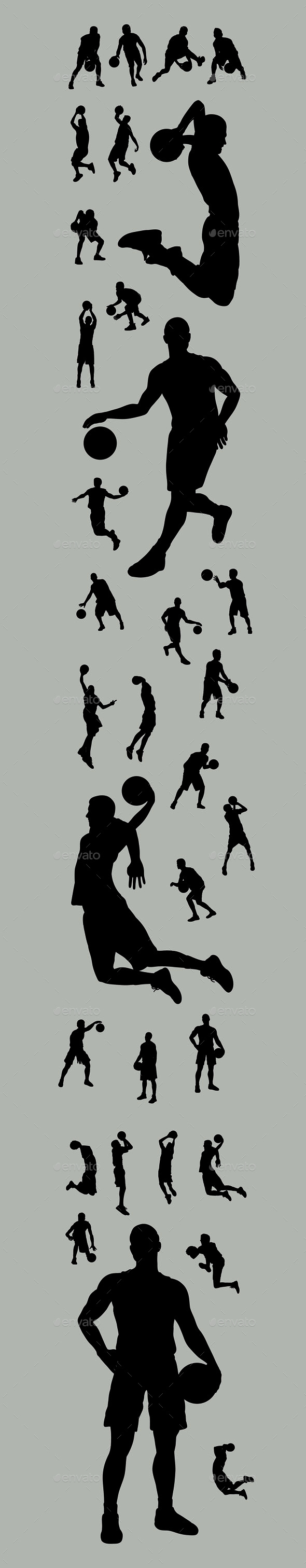 Basketball Player Silhouettes - Sports/Activity Conceptual