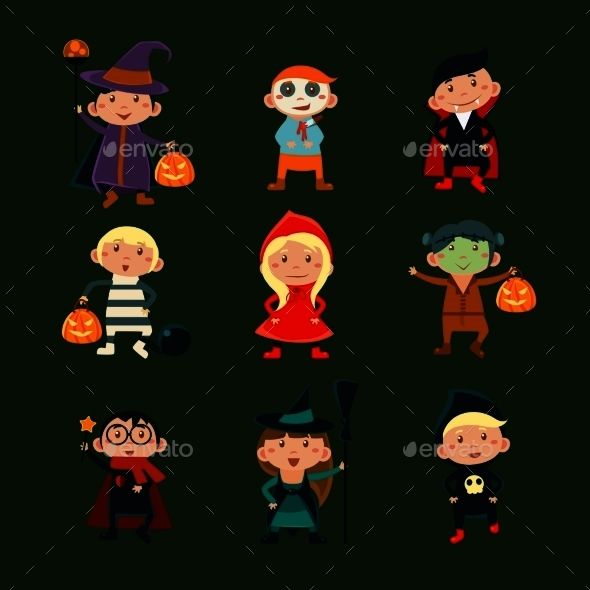 Children In Halloween Costumes - Monsters Characters
