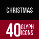 Christmas Glyph Inverted Icons