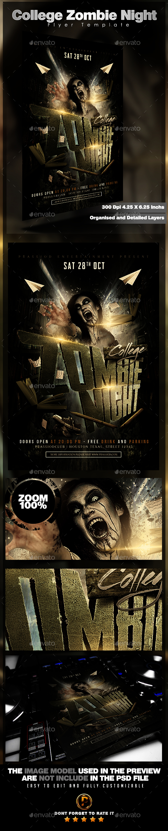College Zombie Night Flyer Template - Events Flyers