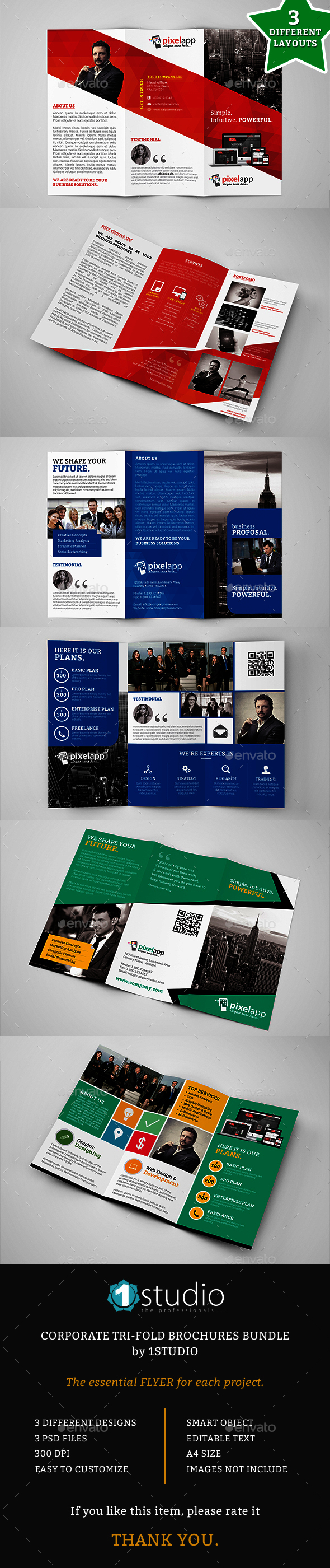 Corporate Trifold Brochures Bundle - 3 in 1 - Corporate Brochures