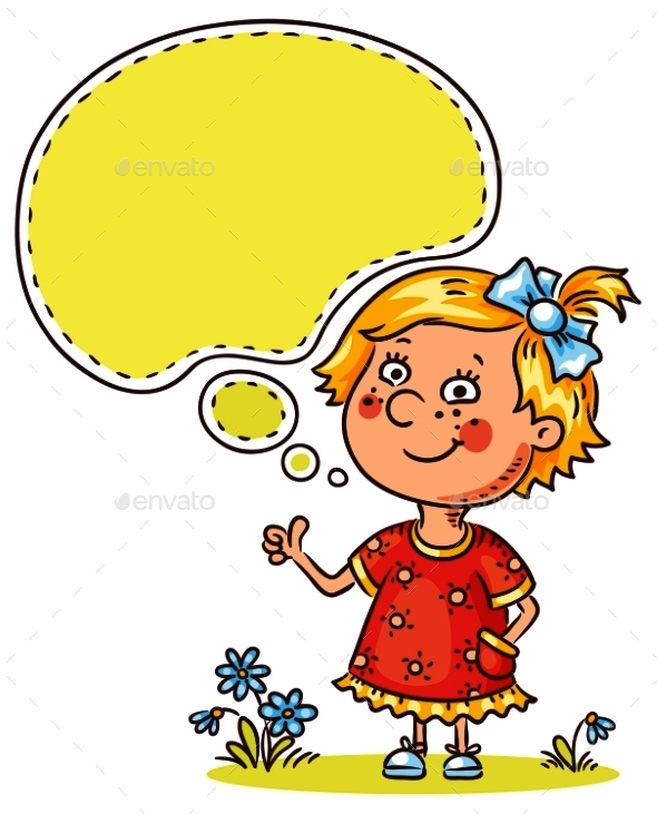 Little Girl with a Speech Bubble - People Characters