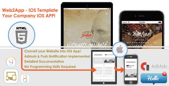 Web2App iOS App Template iOS8/9 + Admob/NoAds & Push Notification - CodeCanyon Item for Sale