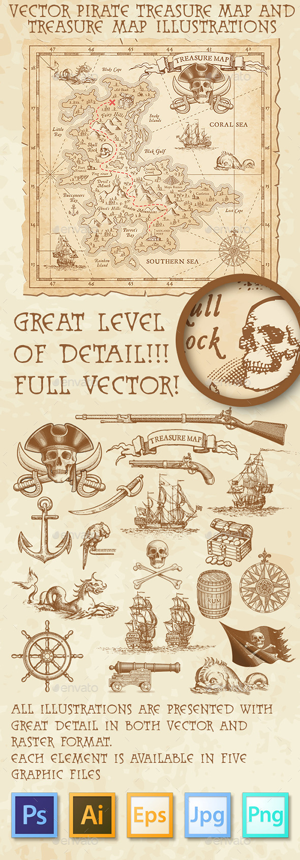 Pirate Treasure Map and Illustrations - Miscellaneous Conceptual