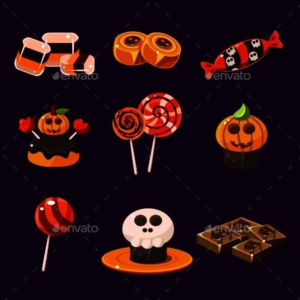 Set Of Colorful Halloween Sweets And Candies