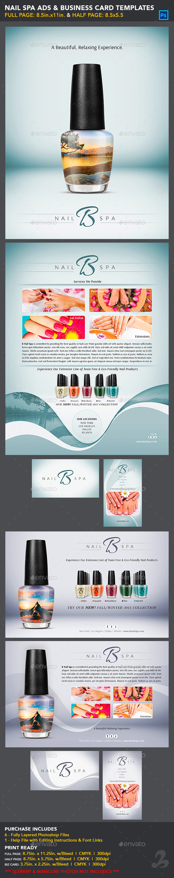 Nail Spa Ads & Business Card Templates - Commerce Flyers