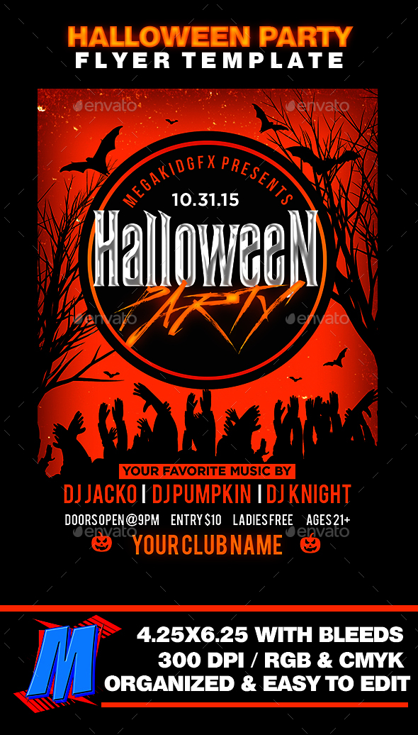 Halloween Bash Flyer Template - Clubs & Parties Events