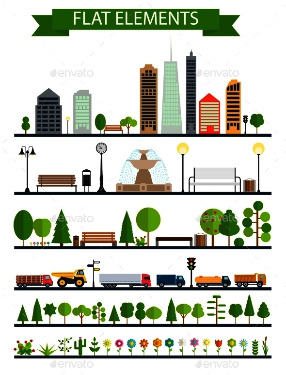 Flat City, Park, Forest, Road Elements - Buildings Objects
