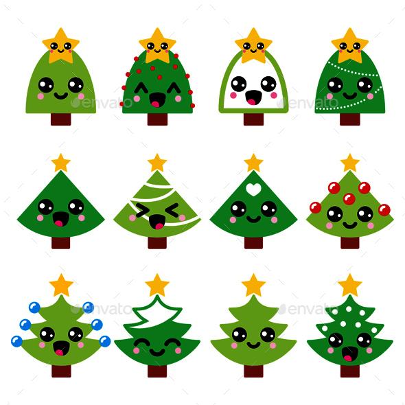 Cute Kawaii Christmas Green Tree With Star Icons - Christmas Seasons/Holidays