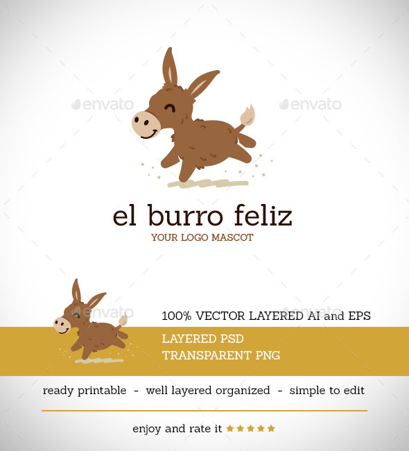 El Burro Feliz - Animals Logo Templates